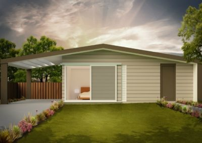Sleepout with Storage and Louver Roof SS1.1 Render 1 Feature 1256x837