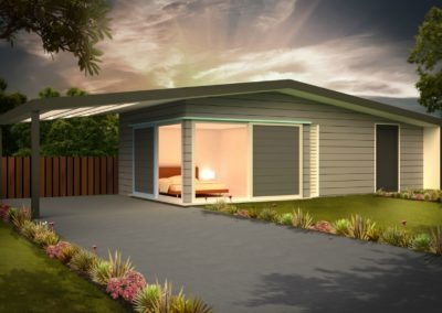 Sleepout with Storage and Louver Roof SS1.1 Render 2 Feature